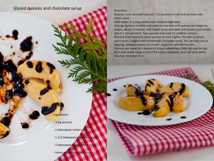 glazed quinces with chocolate syrup_res