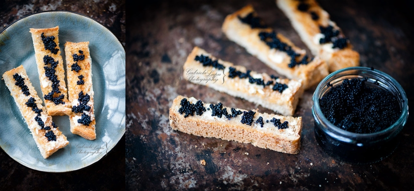 black caviar on toast with butter