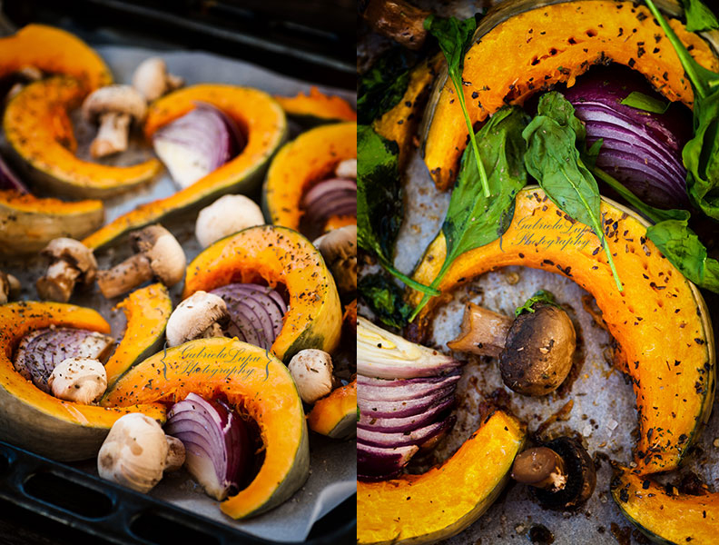 baked pumpkin with mushrooms and spinach