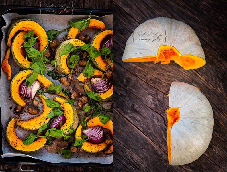 pumpkin with spinach and mushrooms